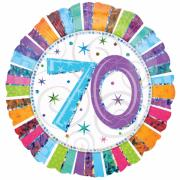 Folienballon Happy Birthday Stripes Zahl 70 ø45cm