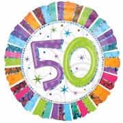 Folienballon Happy Birthday Stripes Zahl 50 ø45cm