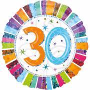 Folienballon Happy Birthday Stripes Zahl 30 ø45cm