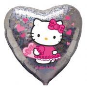 Folienballon Hello Kitty Glitzerherz ø45cm