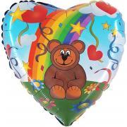 Folienballon Regenbogen-Bär Herz ø50cm