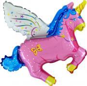 "Folienb. lose 12""/ca.30cm Pegasus m. Flügeln Pink"