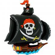 Folienballon Piratenschiff Schwarz 100x80cm MET