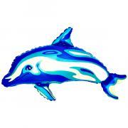 Folienballon Delfin Holografik Blau