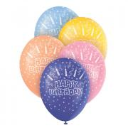 5 Latexballons Happy Birthday Candles ø30cm bunt