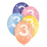 5 Latexballons Zahl 3 Bunt ø30cm