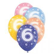 5 Latexballons Zahl 6 Bunt ø30cm