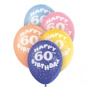 5 Latexballons Happy 60th Birthday ø30cm bunt