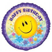 Folienballon Geburtstag Smiley Star ø45cm