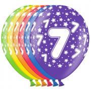 6 bunte Latexballons Zahl 7 ø30cm