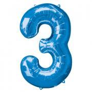 Ballon Riesenzahl Drei - 3 blau 53cm x 88cm