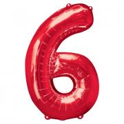 Ballon Riesenzahl Sechs - 6 rot  55cm x 88cm