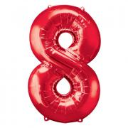 Ballon Riesenzahl Acht - 8 rot 53cm x 83cm
