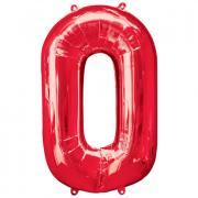 Ballon Riesenzahl Null - 0 rot  66cm x 88cm