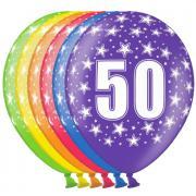 6 bunte Latexballons Zahl 50 ø30cm