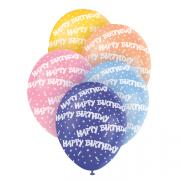 5 Latexballons Happy Birthday Konfetti ø30cm bunt