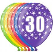 6 bunte Latexballons Zahl 30 ø30cm