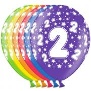 6 bunte Latexballons Zahl 2 ø30cm