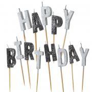 13 Tortenkerzen Happy Birthday Glitzer Schwarz