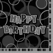 16 Servietten Birthday Glitz schwarz 33cm