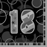 16 Servietten Zahl 18 Glitz schwarz 33cm