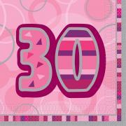 16 Servietten Zahl 30 Glitz Pink 33cm