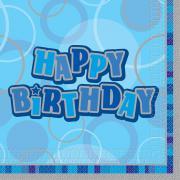 16 Servietten Birthday Glitz blau 33cm