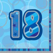 16 Servietten Zahl 18 Glitz blau 33cm