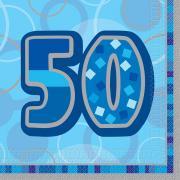 16 Servietten Zahl 50 Glitz blau 33cm