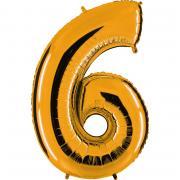 Ballon Riesenzahl Sechs 6 Gold