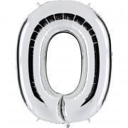 Folienballon Riesenzahl Silber #0 100cm