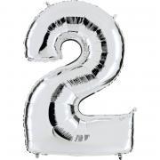 Folienballon Riesenzahl Silber #2 100cm