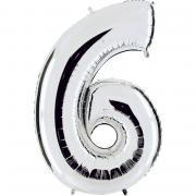 Ballon Riesenzahl Sechs 6 Silber