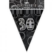 Wimpelkette 30th Birthday Glitz Schwarz 274cm