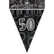 Wimpelkette 50th Birthday Glitz schwarz 274cm