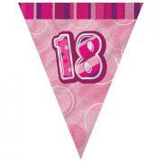 Wimpelkette 18th Birthday Glitz pink 274cm