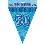 Wimpelkette 50th Birthday blau 360cm