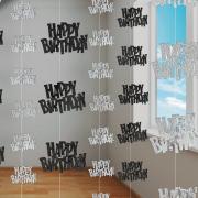Hängegirlande Glitz Schwarz Happy Birthday 6 Stück