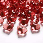 30 Dekosteine Crystal Hearts rot