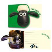 8 Einladungskarten Shaun das Schaf