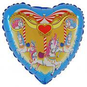 Folienballon Karussellpferdchen Herz ø50cm
