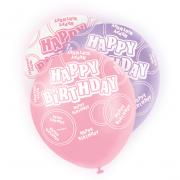 6 Latexballons Happy Birthday Glitz ø30cm Pink-Mix