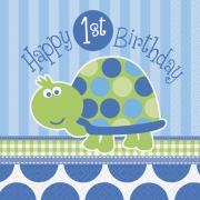 16 Servietten Schildkröte 1. Geburtstag 33cm