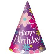 8 Partyhüte Birthday Blossom