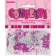 Metallic-Konfetti Happy Birthday Pink 14g