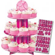 Cupcake-Ständer Happy Birthday Glitz pink