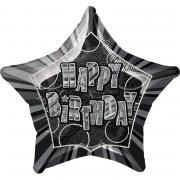 Folienballon Birthday Glitz schwarz ø50cm