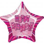 Folienballon Birthday Glitz pink ø50cm
