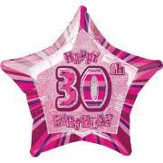 Folienballon Glitz Stern #30 pink 50cmØ