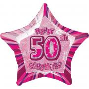 ABC18 Glitz #50th Birthday stern pink ø50cm